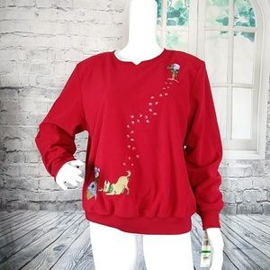 Alfred Dunner Crew Neck Dog Holiday Sweater M